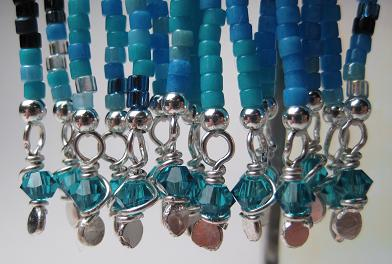 Aquamarine Earring Wire Wraps Close Up