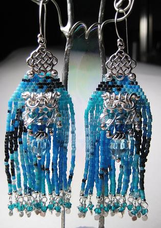 Aquamarine Seed Bead Earrings