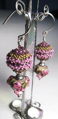 Beaded Bead and Lampwork Earrings