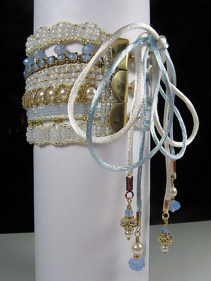 Corset Cuff, with Cup Chain on a Loom