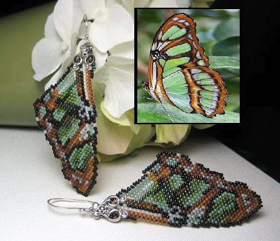 Malachite Butterfly Wing Earrings