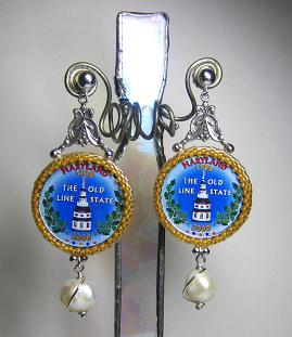 Painted MD Quarter Earrings
