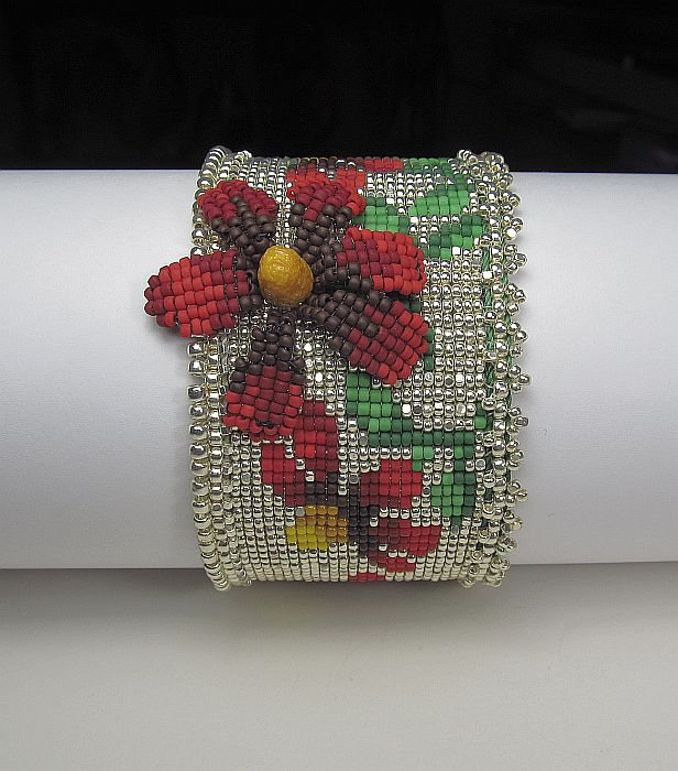Red Cone Flower loom cuff
