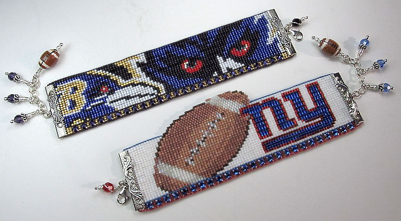 Football Team Beaded Cuffs, woven on a loom