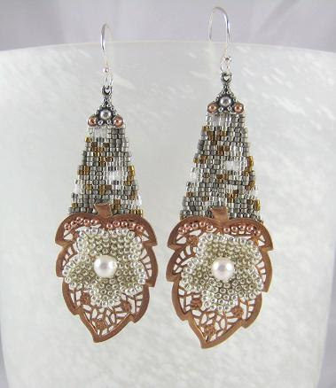 Seed beads and Vintage Copper Leaf