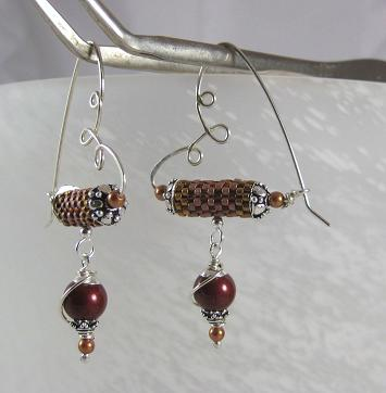 Sterling silver wire, seed beaded tubes and Glass Pearl dangle