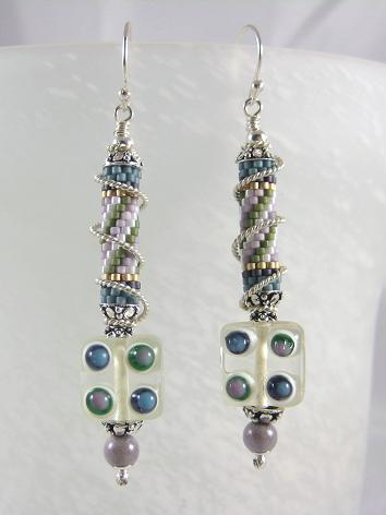 Glass lampwork cubes and seed beaded tubes