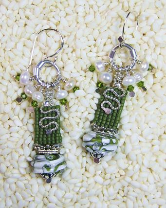 Square stitched seed beads, lampwork by Wendy Woo and sterling findings