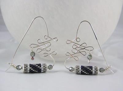 Wig Jig formed sterling silver wire and beaded tubes
