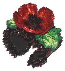 Beaded Poppy Wrist Corsage